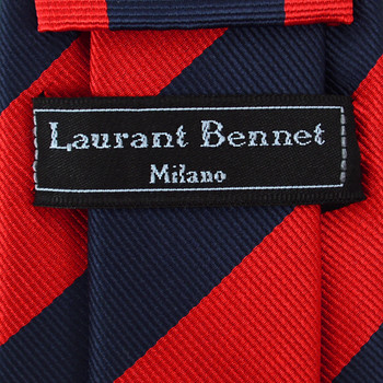Boy's Red & Navy Microfiber Poly Woven College Tie MPWB2402