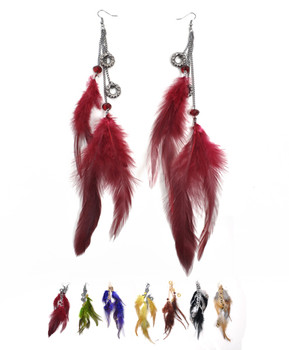 120pc Assorted Dangle Earrings Feathers Set - IMER12021