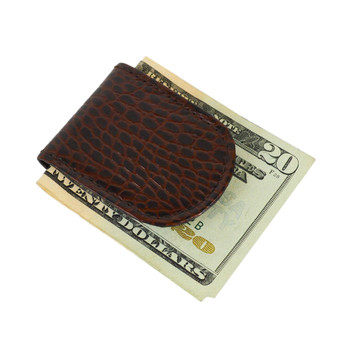 Leather Money Clip In Croco Print CCGMC44BR