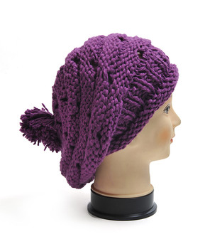 Oversized Beret-Style Knit Acrylic Cap LH1007