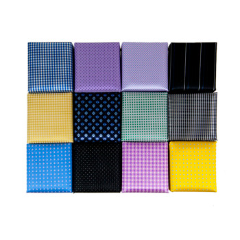 12pc Poly Woven Slim Tie, Hanky & Cufflink Set PWFB2275-NARROW