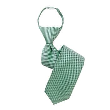 "Boy's 14"" Geometric Green Zipper Tie"