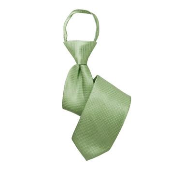 "Boy's 14"" Geometric Lime Zipper Tie"