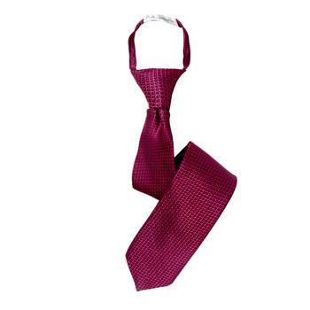 "Boy's 17"" Geometric Hot Pink Zipper Tie"