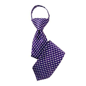 "Boy's 14"" Plaid Purple Zipper Tie"