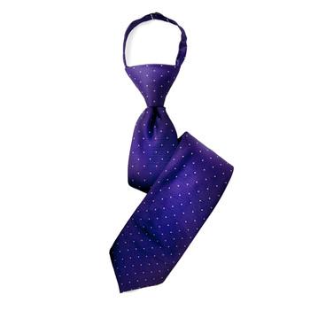 """Boy's 17"""" Polka Dots Purple Zipper Tie"""