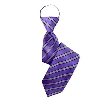 """Boy's 17"""" Shadow Striped Purple Zipper Tie"""