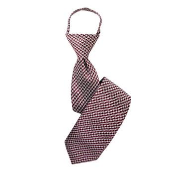 """Boy's 17"""" Houndstooth Rust Zipper Tie"""