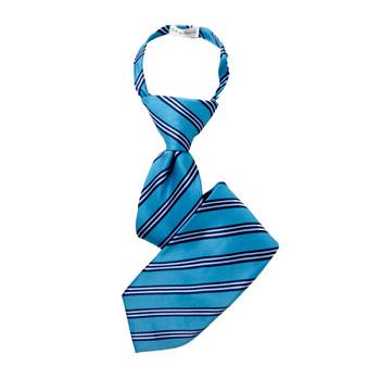 "Boy's 14"" Striped Turquoise Zipper Tie"