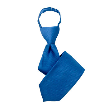"Boy's 14"" Solid Royal Blue Zipper Tie"