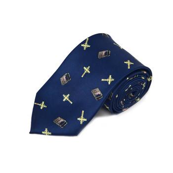 Bible Cross Navy Novelty Tie