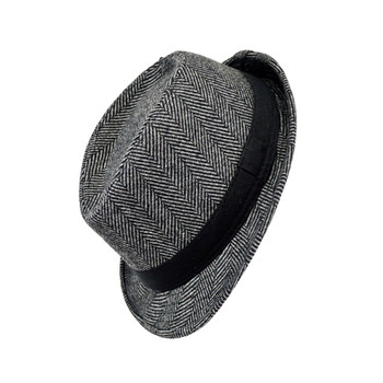 6pcs Two Sizes Boy's Fall/Winter Herringbone Fedora Hats