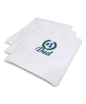 "Cotton Handkerchiefs Embroidered ""#1 Dad"" MDE3003"