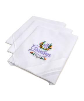 """#1 Grandma"" Cotton Embroidered Handkerchiefs LGE3003"