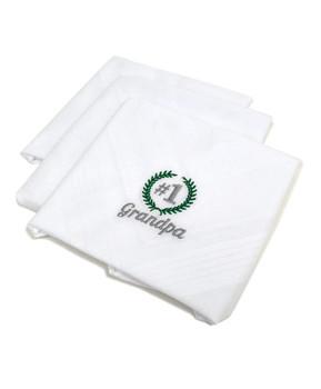 """#1 Grandpa"" Cotton Embroidered Handkerchiefs MGE3003"
