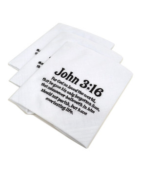 "Cotton Handkerchiefs Embroidered ""John 3:16"" JOHN316HB3"