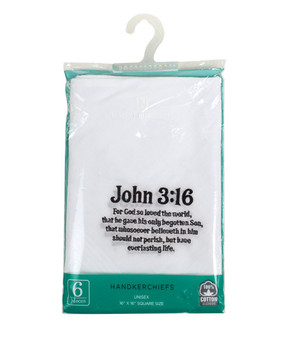 "Unisex ""John 3:16"" Cotton Embroidered Handkerchiefs 6pcs Set"