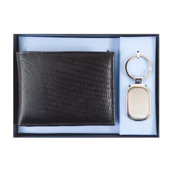 Genuine Leather Lizard Print Wallet & Keychain Sets WKL1000-BK