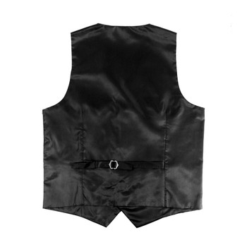 6pc Men's Rayon/Polyester Black Vests
