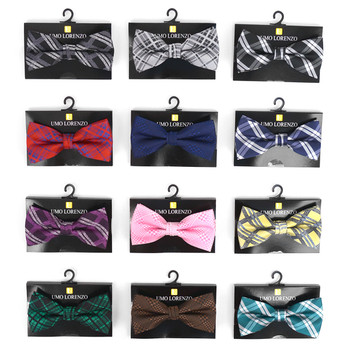 12pc Prepack Assorted Men's Plaid Pattern Poly Woven Banded Bow Ties FBB-PLD