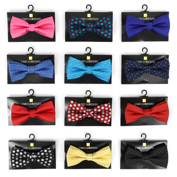 12pc Prepack Assorted Polka Dot Pattern Poly Woven Banded Bow Ties FBB-PLK