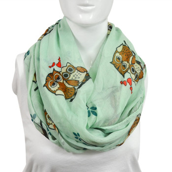 Teal Green Brown Owls Paris Yarn Infinity Light Viscose Novelty Scarves