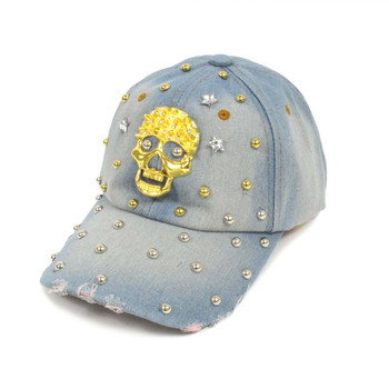 """Bling Studs """"Skull"""" Denim Cap"""