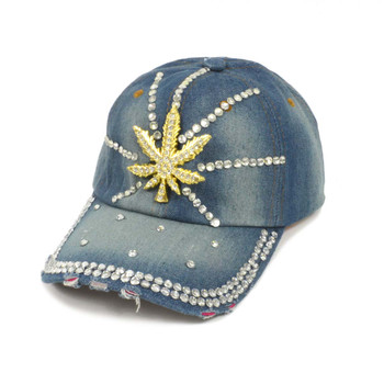 "Bling Studs ""Leaf"" Denim Cap"