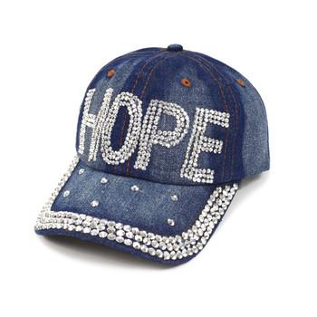 """Bling Studs """"Hope"""" Denim Cap"""