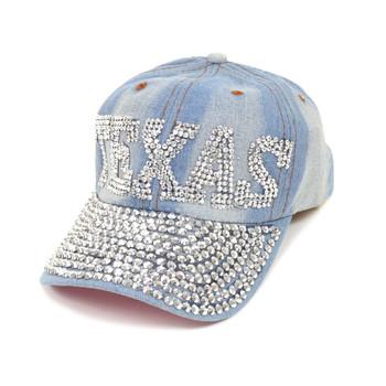 "Bling Studs ""Texas"" Light Denim Cap, Hat"