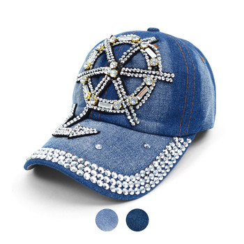 "Bling Studs ""Anchor Wheel"" Denim Cap"