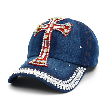 "Bling Studs ""Red Cross"" Denim Cap"
