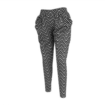 12 Pack Zigzag Print Black Harem Pants
