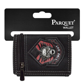 3pc Men's Polyester Time Out Skull Tri-fold Velcro Wallets