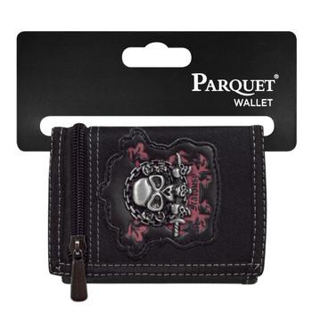 3pc Men's Polyester Jealousy Skull Tri-fold Velcro Wallets