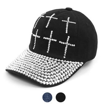 """Bling Studs """"Crosses"""" Black Cap"""