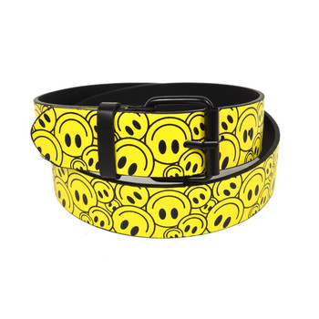 Men's Yellow Smile Face Buckle Belts