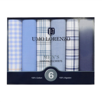 Men's  Boxed Fancy Cotton Handkerchiefs 6pcs Set MFB1516