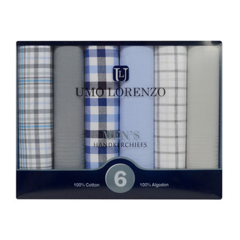 Men's Boxed Fancy Cotton 6pc Handkerchiefs MFB1526