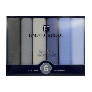 Men's Boxed Fancy Cotton Handkerchiefs 6pcs Set MSCB1546