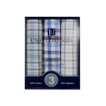 Men's Boxed Fancy Cotton Handkerchiefs 3pcs Set MFB1523