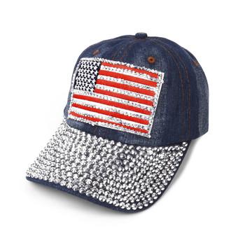 "Bling Studs Rhinestone ""American Flag"" Denim Cap, Hat"