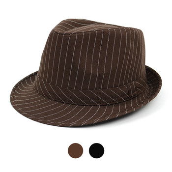 Spring/Summer Poly/Cotton Striped Trilby Fedora Hats H10333