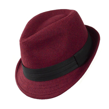 6pc Men's Red Poly/Cotton Westend Fedora Hats