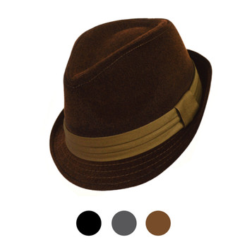 6pcs Two Sizes Fall/Winter Poly/Cotton Trilby Fedora Hats H10337
