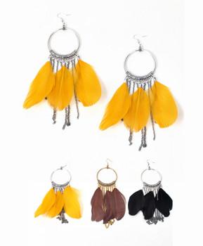 12pc Dangle Earrings Feathers - IME12034
