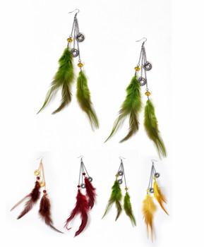 12pc Dangle Earrings Feathers - IME12035