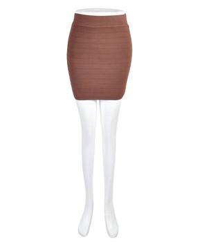 6 Pack Women's Brown Slim Mini Stretch Skirt T0423-5444BR