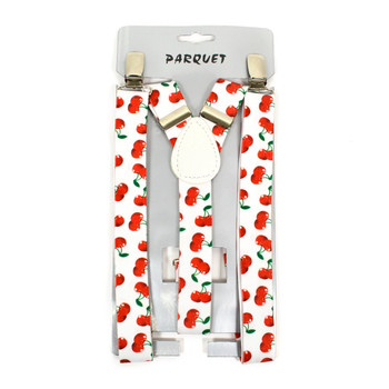 Boy's Y-Back Cherry Adjustable Elastic Clip-on Suspenders BSCS1071-6