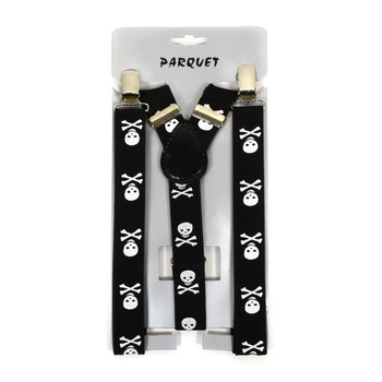 6pc Men's Y-Back Skull and Crossbones Adjustable Elastic Clip-on Suspenders